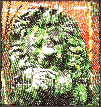 the lion sleeps<br> beadwork<br> 4 x 4